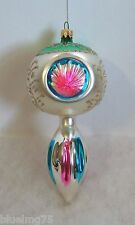 Vintage Glass Xmas Ornament Triple Indent Reflector Multi Color Columbia (LR3)