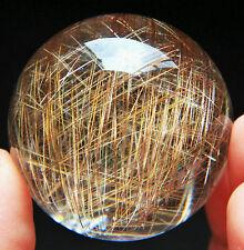 43mm Sparkling ! Natural Clear Gold Rutilated Quartz Crystal Sphere Gem Ball