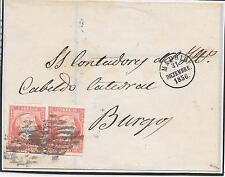España. Carta circulada con pareja de sello de 4 ctos. Edifil nº 48