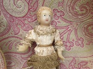 Beautiful  Antique French poured wax baby Jesus / crèche figure Doll 1880s