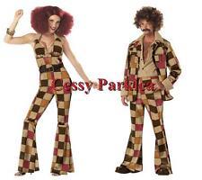 Disco Men & Girl 70s 80s Ladies Jumpsuit & Men's Leisure Suit Couple's Costumes