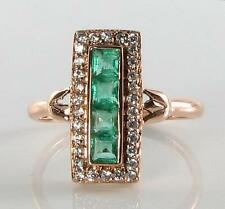 LONG 9K 9CT ROSE GOLD COLOMBIAN EMERALD & DIAMOND ART DECO INS RING FREE RESIZE