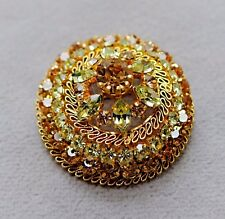 VTG Stunning~Sparkly~Large Domed Gold/Green Crystal Cluster Pin~Made in Austria