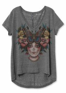 Liquorbrand Belle Gypsy Relaxed Top Skull Gothic Tattoo Alternative Tee Shirt