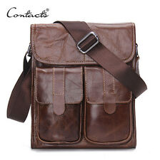 "Genuine Leather Men Compact Messenger Shoulder Bags Vintage 11""Tablet/PC Bag"