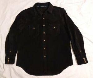 Polo Ralph Lauren Black Suede Leather Western Shirt Jacket XL