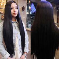 Femmes Long Droit Noir Hair Cosplay Halloween Fête Party Perruque Wig Fancy Robe