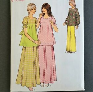 Vtg 70s Maxi Skirt Blouse Palazzo Pants STYLE 4545 Jr Sz 7/8 Cottagecore Modest