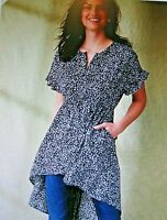 Maurices~New With Tags~Black & White Ditsy Floral High Low Tunic~Size XXL