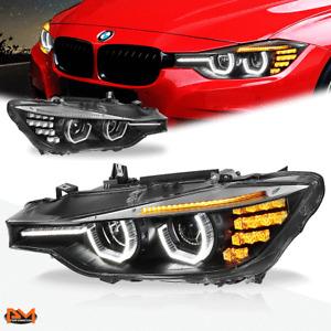 For 12-16 BMW 3-Series F30/F31 Dual LED 3D U-Halo+DRL Projector Headlight Black