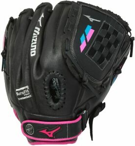 New Mizuno Prospect Finch - Youth Utility Mitt, Black/Pink, 12 LHT Blk/Pink