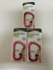 Nite Ize SlideLock Carabiner #3 Aluminum Red Locking Utility 25lb-Rated (3-Pack)