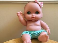 """Cute 6 1/2"""" Vinyl Green Eyed Berenguer Baby Doll w/Pink Bow Cleaned in Euc"""
