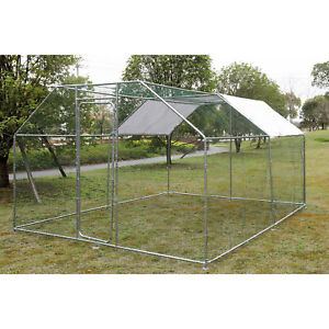 10x10 ft Walk in Coop Chicken Run Backyard Hen House Poultry Rabbit Cage & Cover