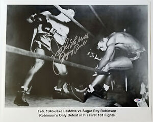 JAKE LAMOTTA Silver Signed+Raging Bull 16x20 Photo vs Sugar Ray Robinson PSA/DNA