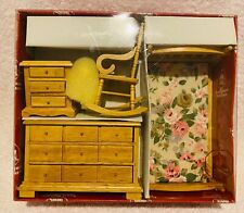 Town Square Miniature Dollhouse Bedroom Set Bed w/Flowers Rocking Chair Dresser