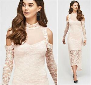 NWT BEAUTIFUL Light Pink Lace Evening Prom Dress UK8-12 Wedding Guest Bridesmaid