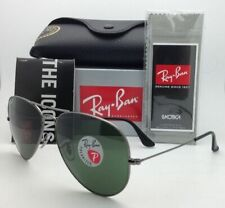 Polarized Ray-Ban Sunglasses LARGE METAL RB 3025 004/58 Gunmetal w/ Green Lenses