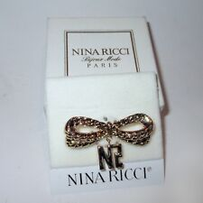 Brooch Pin - Nina Ricci Dangle Monogram - Gold Plated Bow - Signed Carded Boxed