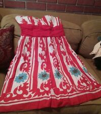 Spanish Strapless Dress  sz.M juniors red,white,turquoise party Sweet Sixteen