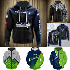 Seattle Seahawks Hoodies Men's Casual Jacket Full Zip Hooded Football Sweatshirt