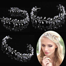 Vintage Faux Pearl Crystal Drop Tiara Bridal Headband Hair Accessories Wedding
