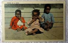 1924 African American Three Of A Kind Postcard Children #bh67
