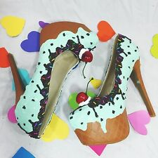 "Mint Chocolate Chip! Adorable Ice Cream 6"" Stiletto Platform Fashion Party Shoes"
