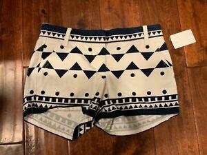 J. Crew White & Blue Geometric Print Chino Shorts, Size 0