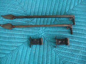 Antique Vintage Drapery Swing Arm Curtain Rod Ornate Victorian SET