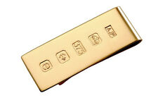 9 CARAT GOLD MONEY CLIP WITH FEATURE HALLMARK. 19mm wide ENGLISH MADE BILLFOLD