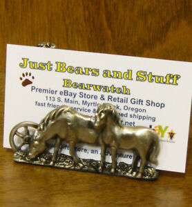 Pewter Business Card Holder #H044 HORSES, Welforth, NEW/Box From Retail Store