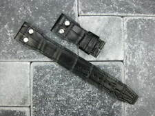 22mm Black Gator Grain Leather Strap watch Band with Rivet Top Gun BIG PILOT X1