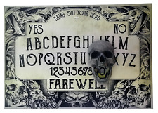 A4 Hand Finished Plague Ouija Board with Screaming Skull Planchette, Black Death