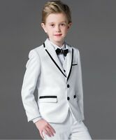 Boys Suits White+Black Lapel 3 Piece Suit Formal Wedding Pageboy Flower Kid Suit