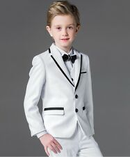 Boys Suits White+Black Lapel 3 Piece Suit Formal Wedding Pageboy Flower Kid Suit