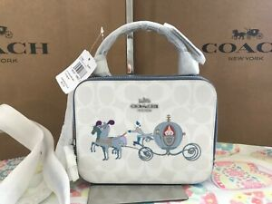Disney X Coach Box Crossbody In Signature Canvas With Cinderella C1426 SV/Chalk