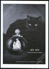 1964 black cat photo Lanvin My Sin perfume vintage print ad