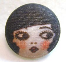 "1920s Flapper Girl Button Hand Printed Fabric "" Olivia """