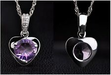 Silver Plated Amethyst Heart Necklace & Pendant 45cm. The Calming Gemstone.925
