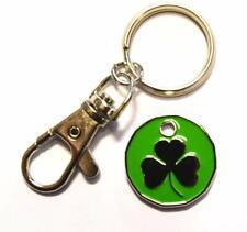 Irish Shamrock Design SHOPPING TROLLEY Token Coin Key Rings Gift Idea NEW SHAPE