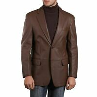 Brand New Men's Genuine Lambskin Leather Blazer Coat Jacket Soft TWO BUTTON