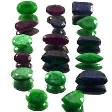 1274 Ct Natural Red Ruby Green Emerald & Blue Sapphire Mix Gems Wholesale~17Pcs