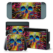 Colourful Skull Nintendo Switch Protective Skin 4 Pc Sticker Set - 0245
