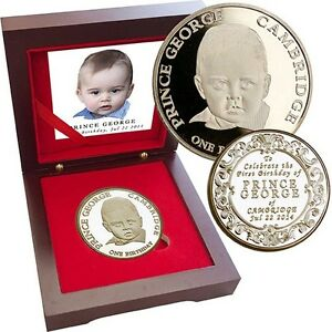 * HALF PRICE * Prince George First Birthday 2014 1oz Gold Layer Limited 300 COA