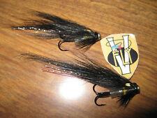 2 V Fly 1/2 Inch Black Alta Temple Dog Alloy Salmon Bottle Tube Flies & Hooks