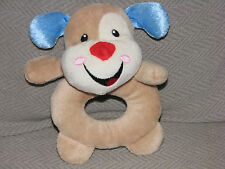 Fisher Price Stuffed Plush Puppy Dog Laugh And Learn Baby Toy Ring Rattle 2012