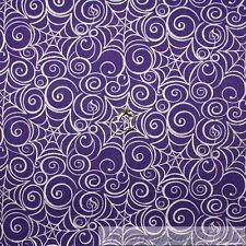 BonEful Fabric Cotton Quilt Purple White Silver Metallic Spider Web Scroll Scrap