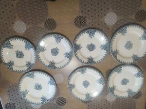 Lot 7 assiettes plates  Terre de fer  R et A SALLINS modèle FONTENOY