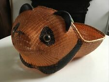 More details for rare vintage chinese shanghai handicrafts intricate wicker panda basket